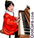 young girl at the piano Vector Clip Art image