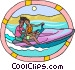 two people riding a personal Vector Clip Art image