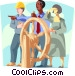 Business metaphor, people driving ship Vector Clipart picture
