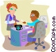 Woman receiving a disability check Vector Clip Art image