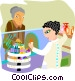 pharmacist talking to patient Vector Clip Art image
