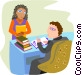 man at desk with a female Vector Clip Art image