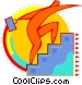 Figure walking up stairs Vector Clipart illustration