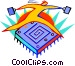Figure jumping over computer Vector Clip Art image