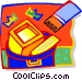 throwing computer equipment in trash Vector Clipart picture