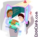 ambulance attendants with a patient Vector Clip Art graphic