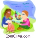 Couple having a picnic  on the Vector Clipart picture