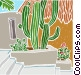 cactus with stairway Vector Clipart picture