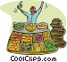merchant selling fruits and Vector Clipart image