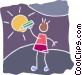 child drawing a sun with a Vector Clipart illustration
