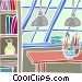work desk in a loft Vector Clip Art image