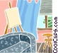 Easel in living room Vector Clip Art image