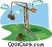 crane with load of logs Vector Clipart illustration