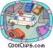ambulance driving Vector Clip Art image