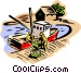Fishermen unloading a day's catch Vector Clipart illustration