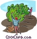 orchard workers Vector Clip Art graphic