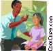 Doctor taking girls temperature Vector Clipart picture
