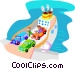 ferry boat with cars Vector Clipart graphic
