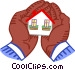 holding a house in the palm of Vector Clip Art graphic