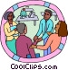 workers congratulating a colleague Vector Clip Art image