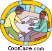 draftsmen discussing matters Vector Clip Art picture