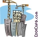 cranes building an office Vector Clip Art image