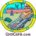 automobiles being offloaded Vector Clip Art graphic