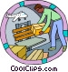 worker unloading shipment from airplane Vector Clip Art picture
