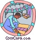 factory workers packaging Vector Clipart picture
