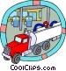 petroleum truck unloading gasoline Vector Clipart picture