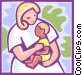 Mother with child Vector Clip Art image