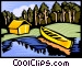 Camping site with tent and canoe Vector Clip Art graphic