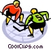 Hockey players ready to face off Vector Clip Art graphic