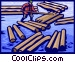 Forestry industry, clearing a log jam Vector Clip Art picture