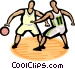 Basketball player dribbling ball Vector Clipart illustration