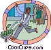 man with wheelbarrow full of Vector Clipart graphic