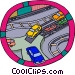 Cars being offloaded from rail transport Vector Clipart graphic