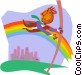 jumping over a rainbow Vector Clip Art graphic