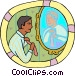 man putting on a tie Vector Clip Art image