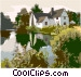 landscape with house and river Vector Clip Art graphic