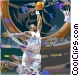 Basketball player going for slam dunk Vector Clip Art picture