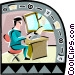 man working at a desk Vector Clipart picture
