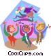 graduate celebrating with friends Vector Clip Art picture