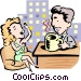 Talk show host and guest Vector Clipart picture