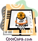 Basketball net and ball Vector Clip Art graphic