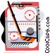 Hockey rink with stick and Vector Clip Art graphic
