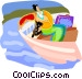 Tourist on a boat ride Vector Clip Art graphic