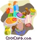 Shopping at an African market Vector Clip Art image