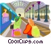 Tourists catching train Vector Clipart picture
