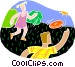 Kids playing Frisbee Vector Clipart picture